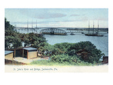 Jacksonville, Florida - View of St. John's River and Bridge Posters by  Lantern Press