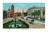 Chattanooga, Tennessee - Scenic View of Fountain Square Posters by  Lantern Press