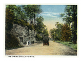 Kansas City, Missouri - View of the Spring of Cliff Drive Prints by Lantern Press