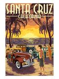 Santa Cruz  California - Vintage Woodies on the Beach