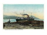 Port Orford, Oregon - Logging Ship Loading Cedar Logs for Japan Poster von  Lantern Press