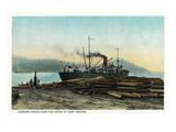 Port Orford, Oregon - Logging Ship Loading Cedar Logs for Japan Posters by Lantern Press 