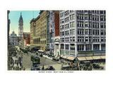 Philadelphia, Pennsylvania - Market Street West from 11th Street Poster von  Lantern Press