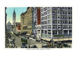 Philadelphia, Pennsylvania - Market Street West from 11th Street Posters by Lantern Press