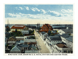 Key West, Florida - Aerial View, US Naval Station and Custom House Poster by  Lantern Press