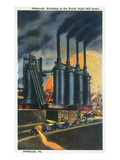 Pittsburgh, Pennsylvania - Steel Mill Scene at Night Poster von  Lantern Press