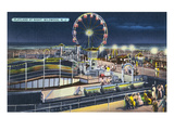 Wildwood, New Jersey - View of Playland at Night Poster von  Lantern Press