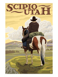 Scipio, Utah - Cowboy and Valley Poster by  Lantern Press