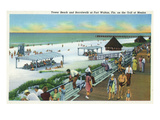 Fort Walton, Florida - View of Beach, Boardwalk, Gulf of Mexico Poster von  Lantern Press