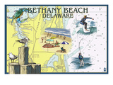 Bethany Beach, Delaware - Nautical Chart Posters by Lantern Press