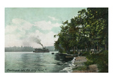 Chautauqua Lake, New York - Long Point View of Steamer Posters by  Lantern Press