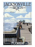 Jacksonville Beach, Florida - Fishing Pier Scene Poster by  Lantern Press