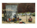 Canyon De Chelly, Arizona - View of Navajo Women Weaving Rug Poster von  Lantern Press