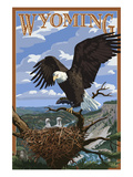 Eagle and Chicks - Wyoming Posters by  Lantern Press