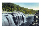 Letchworth State Park, New York - View of Upper Falls Poster by  Lantern Press