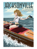 Jacksonville Beach, Florida - Boating Pinup Girl Prints by  Lantern Press