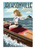 Jacksonville Beach, Florida - Boating Pinup Girl Prints by  Lantern Press