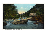 Blue Ridge Mountains, North Carolina - Rocky Broad River Scene Print by  Lantern Press