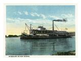Kansas City, Missouri - View of a Steamer on the Missouri River Prints by  Lantern Press