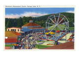 Caroga Lake, New York - Sherman's Amusement Center View Prints by  Lantern Press