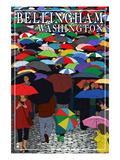 Bellingham, Washington - Umbrellas Print by  Lantern Press