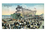 Long Beach, California - View of Amusement Rides Along the Pike Prints by  Lantern Press