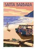 Santa Barbara, California - Woody on Beach Poster by Lantern Press 
