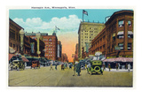 Minneapolis, Minnesota - View Down Hennepin Avenue Poster von  Lantern Press
