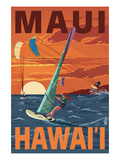 Maui, Hawaii - Windsurfers Scene at Sunset Prints by  Lantern Press