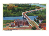 Schenectady, New York - Aerial View of Hotel Van Curler and Great Western Bridge Poster by  Lantern Press