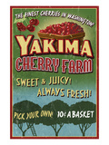 Yakima, Washington - Cherries Poster von  Lantern Press