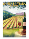 Santa Barbara, California - Vineyard Scene Posters by Lantern Press