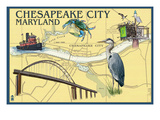 Chesapeake City, Maryland - Nautical Chart Posters by  Lantern Press