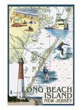 Long Beach Island, New Jersey - Nautical Chart Affiches par  Lantern Press