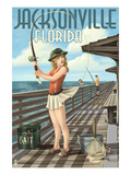 Jacksonville, Florida - Fishing Pinup Girl Posters by  Lantern Press