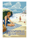 Jacksonville, Florida - Woman and Beach Scene Prints by  Lantern Press