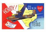 Texas - B-24 Howdy, Bound for Tokyo WWII Promo Prints by  Lantern Press