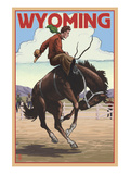 Cowboy and Bronco Scene - Wyoming Prints by  Lantern Press