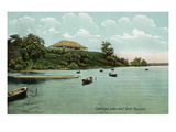 Saratoga Springs, New York - View of Saratoga Lake and Park Pavilion Psters por Lantern Press