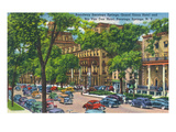 Saratoga Springs, New York - Grand Union and Rip Van Winkle Hotels View Posters by  Lantern Press