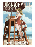 Jacksonville Beach, Florida - Lifeguard Pinup Girl Print by  Lantern Press