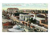 Long Beach, California - Aerial Panoramic View of the Pike Poster by  Lantern Press