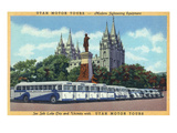 Salt Lake City, Utah - Rows of Tourbuses by the Temple Print by Lantern Press 