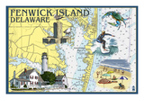 Fenwick Island, Delaware - Nautical Chart Art by  Lantern Press