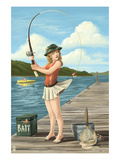 Pinup Girl Fishing on Lake Prints by Lantern Press