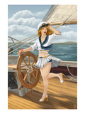 Pinup Girl Sailing Posters by  Lantern Press