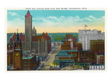 Minneapolis, Minnesota - Western View from New Bridge of Third Avenue Kunstdrucke von  Lantern Press