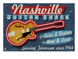 Nashville, Tennessee - Guitar Shack Prints by Lantern Press