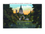 Minneapolis, Minnesota - Exterior View of the Pro-Cathedral from Loring Park Art by  Lantern Press