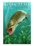 Hayward, Wisconsin - Muskie Prints by  Lantern Press